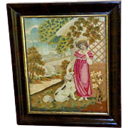 Early 19th Century Georgian Silkwork of Young Lady and Her Pet Dog