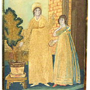 Early 19th Century Silkwork of Two Ladies in Fashionable Attire
