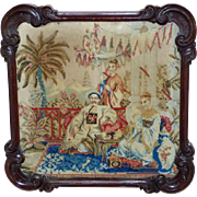 19th Century Early Victorian Woolwork Chinoiserie Scene in Original Carved Mahogany Frame