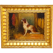Brown and White Spaniel in a Barn, by J. Langlois