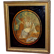 "Early 19th Century Georgian Silkwork of Shepherdess Carving ""Tancred"" on a Tree"