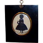 19th Century Early Victorian Hand-Cut Silhouette of a Girl and Her Doll