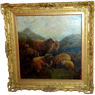Early 20th Century Scottish Painting of Highland Sheep