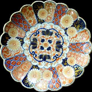 19th Century Japanese Imari Charger With Fukugawa Orchid Mark