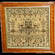 Georgian Early 19th Century Welsh Silkwork Sampler