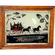 Mid-Victorian 19th Century Silhouette of Coaching Scene Painted on Glass
