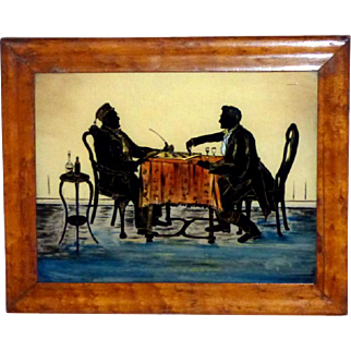 Mid-Victorian 19th Century Silhouette of a Chess Match Painted on Glass