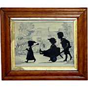Late Victorian Hand-Cut Silhouette of Three Children