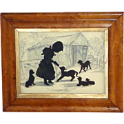 Late Victorian Hand-Cut Silhouette of a Girl and Her Pets