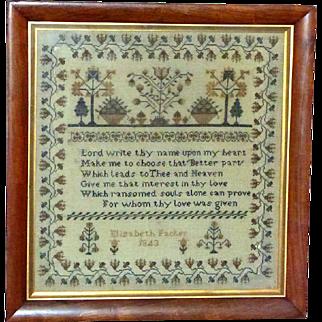 Traditional Silkwork Sampler Dated 1843