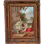 Early Victorian Woolwork on Silk Picture of Child and Pet Dog