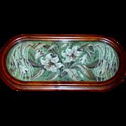 Victorian Mid-19th Century Mahogany-Framed Woolwork and Beadwork Tray
