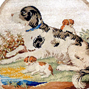 Early Victorian Berlin Woolwork and Beadwork Dog and Puppies