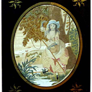 19th Century Silkwork of a Maiden Fishing