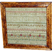 19th Century Victorian Silkwork Alphabet Sampler - Red Tag Sale Item