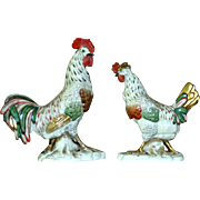 Antique Semi-Porcelain Hand-Painted Continental Cockerel and Hen