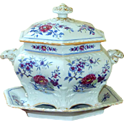 Regency Ridgway Stoneware early 19th Century Hand-Painted and Gilded Three-Piece Tureen