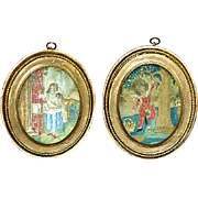 Pair of Regency Early 19th Century Miniature Silkwork Portraits of Two Children