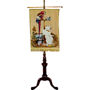 Late 19th Century Pettipoint Woolwork Banner Depicting Landseer's Painting of the Queen's Pets Hung on a Victorian Walnut Stand - Red Tag Sale Item