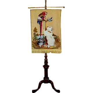 Late 19th Century Pettipoint Woolwork Banner Depicting Landseer's Painting of the Queen's Pets Hung on a Victorian Walnut Stand