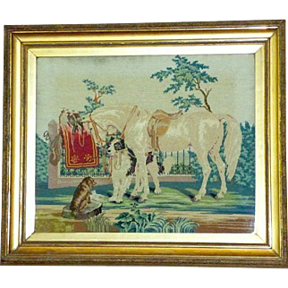 HUGE Late Victorian 19th Century Woolwork Picture with Horse and Dogs