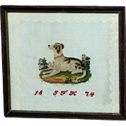Victorian Woolwork Sampler with a Dog, Dated 1874