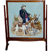 Edwardian Mahogany Firescreen with Woolwork Tapestry of Hunter and Dogs
