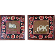 Pair of Early Victorian 19th Century Woolwork Tapestry Pictures of a Spaniel and a Cat on a Cushion