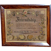 Mid-Victorian 19th Century Silkwork Sampler with Poetic Verse and Naturalistic Floral Borders