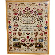 Early Victorian 19th Century Woolwork Sampler with Flowers, Birds and Houses