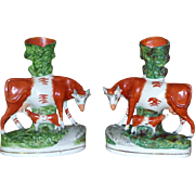 Pair of Large and Impressive Mid-19th Century Victorian Staffordshire Cows and Calves