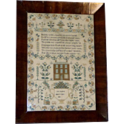 Silkwork Pettipoint Sampler with 3-Story House Dated 1836 in Original Rosewood Frame