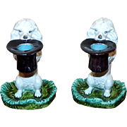 Pair of Rare 19th Century French Sarreguemines Majolica Poodle Chamber Sticks