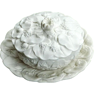 Victorian Mid-19th Century Biscuit Porcelain Bowl and Cover with Stand, Molded in Relief with Flowers and Foliage