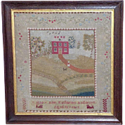Early Victorian Pettipoint Wool Sampler with House and Figure, Dated 1839
