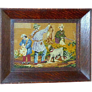 Victorian Late 19th Century Rare Woolwork and Plushwork of Hunters with Dog