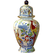 19th Century Victorian Lidded Vase with Birds and Flowers