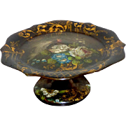 Early Victorian 19th Century Papier Mache Tray on Footed Stand