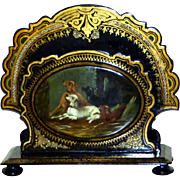 Early Victorian Papier Mache Stationary Stand with a Painting of Four Dogs in a Barn
