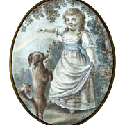 18th Century Georgian Painting on Silk of Young Girl and Her Pet Dog