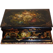 19th Century Papier Mache Jewelry Box by Clay and Company