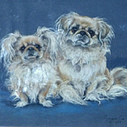 """Pastel Portrait of The Pekingese Dogs, """"Mimi"""" and """"Chan"""", by Marjorie Cox (1915-2003)"""