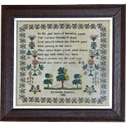 Pettipoint Silkwork Verse and Motif Sampler Dated 1801
