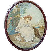Regency Early 19th Century Felt and Woolwork Girl and Her Pet Spaniel