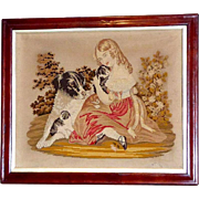 Victorian Berlin Woolwork Embroidery with Child, Puppies and Dog