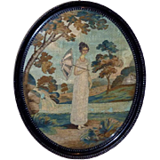 Early 19th Century Regency Silkwork Picture with Wool Stitching