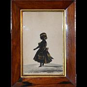 Regency Rosewood-Framed Silhouette of a Little Girl Heightened in Gilt