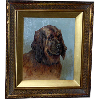 Victorian 19th Century Portrait of a Bloodhound