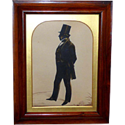 Large Victorian Hand-Cut Silhouette of a Gentleman by Frith, Dated 1848, in Its Original Rosewood Frame and Arched Gilded Slip