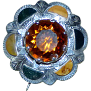 Victorian Scottish Sterling Silver and Agate Brooch